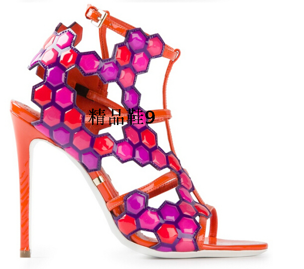 Free shipping 2015 Sophia Webster women brand sandals ankle wrap women thin high heel sandals mixed color women shoes(China (Mainland))