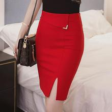 Summer Fashion High Waist Slim Women Pencil Skirt Black Blue Red Colors Medium Skirt Europe American Apparel Clothing Plus Size