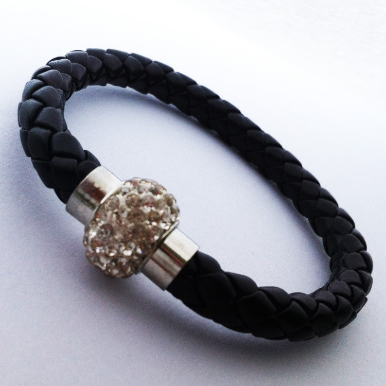 New Arrival Black PU Round Leather Wrap Wristband Magnetic Rhinestone Bead wrap link bracelet Bangle for Best Friend<br><br>Aliexpress