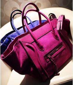 Famous Design Women Classic Luxury PU Leather Chamois Handbags Bat Wings Smiling Face Bags Ladies Smiley Totes YK180