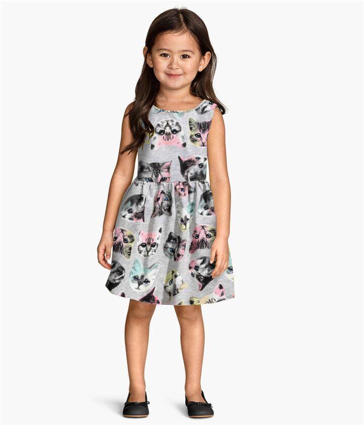 new Arrival summer girl dress cat print grey baby girl dress children clothing children dress <br><br>Aliexpress