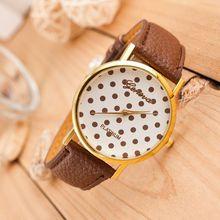 2015 nuevas mujeres del reloj de ginebra Multicolor Dots Spots Casual reloj de cuarzo analógico reloj de pulsera vestido reloj Relogio