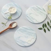 2pcs/pack Marble grain coaster cup mats pads ceramic pads home kitchen tools desktop non-slip luxury decor cup pad Diameter 15cm(China (Mainland))