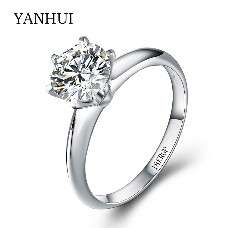 Authentic 18KRGP Stamp Solid Gold Ring Original Jewelry 8mm 2ct CZ Diamond Wedding Engagement Gold Plated Rings For Women R2-168(China (Mainland))