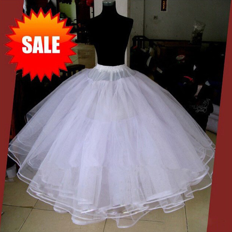White without hoops 4 layers wedding accessories for Tulle petticoat for wedding dress