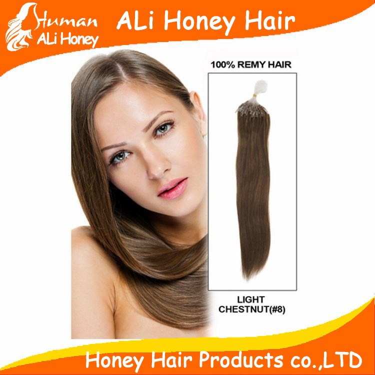 "18"" 20"" 22"" 100g/pk micro rings loop hair extensions 0.8g/s 1g/s 100% Indian Remy Human Hair black brown blond"