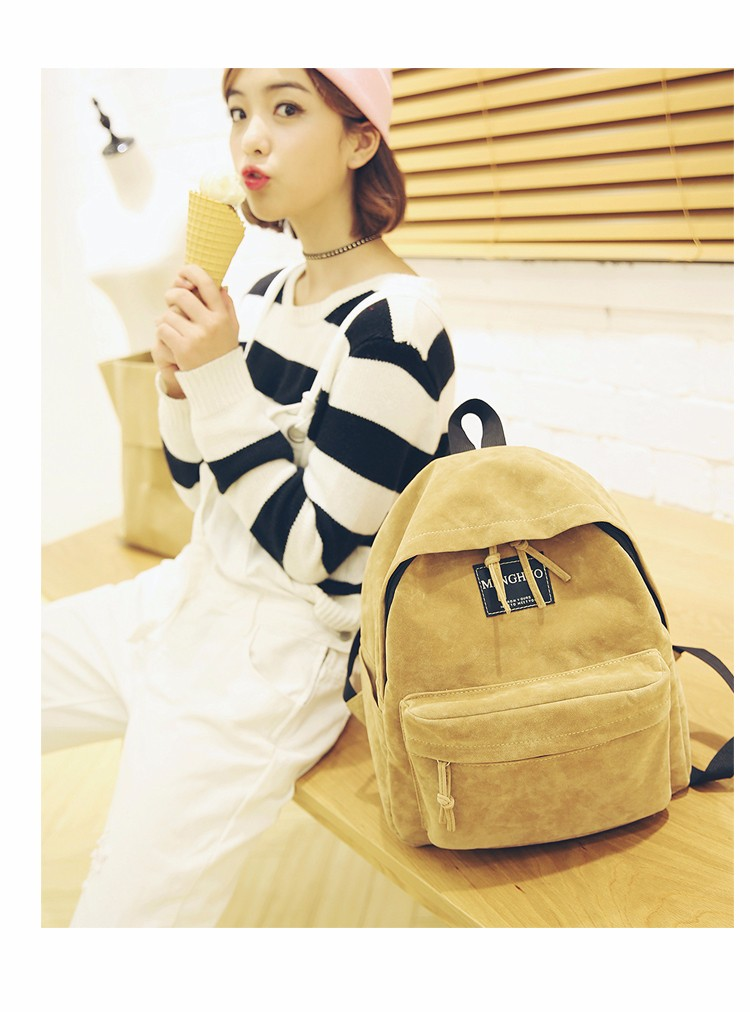 2016 New Women Backpack Preppy Style Suede Backpacks Teenage Girls School Bags Vintage Rivet Travel Backpack Burgundy Gray Black (38)