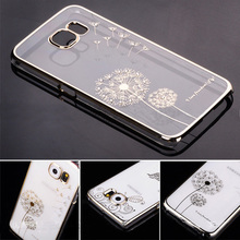 New Arrival Luxury Crystal Diamond Electroplate Clear Transparent PC Hard Case Cover For Sumsung Galaxy S6 S6 edge Phone Bags(China (Mainland))