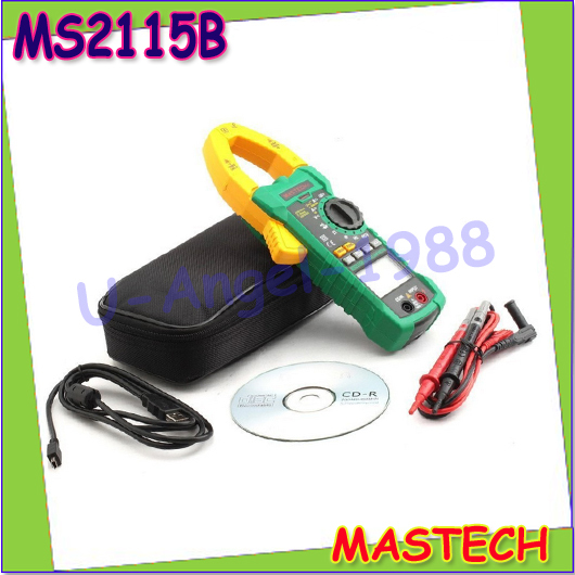 1pcs MASTECH MS2115B True RMS Digital Clamp Meter Multimeter DC AC Voltage Current Ohm Capacitance Frequency Tester with USB<br><br>Aliexpress