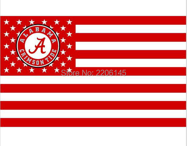 Alabama Crimson Tide with us stripes 3ftx5ft Banner 100D Polyester Flag metal Grommets NCAA flag(China (Mainland))
