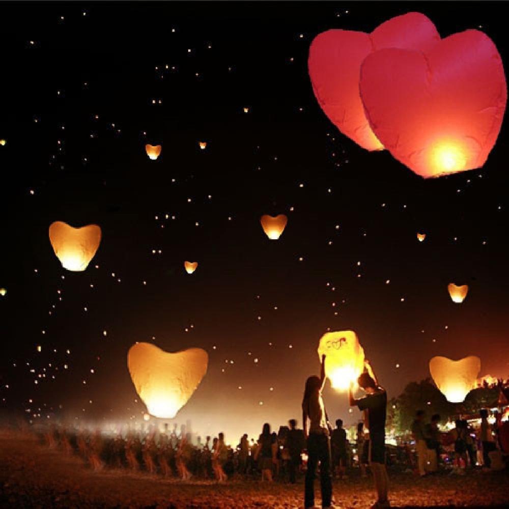 New 5Pcs/set Love Heart Sky Lantern Flying Wishing Lamp Hot Air Balloon Kongming Lantern Party Favors 90CM For Birthday Party(China (Mainland))