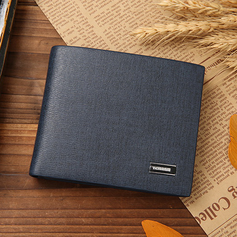Hot New High-Grade Fine Lines Hinge Leather Men's Wallet Large Capacity Multi-Bit Slot Photo Wallet WB056(China (Mainland))