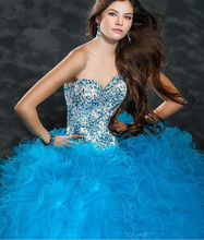 Buy 2015 Tulle Ball Gowns Quinceanera Dresses Sweetheart Sleeveless Lace Up Back Blue Beaded Fomal Quinceanera Dresses Floor Length for $199.00 in AliExpress store
