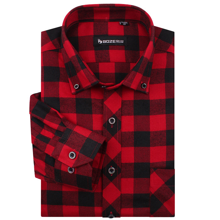 High quality famous brand men fashion red and black plaid for Dark red plaid shirt