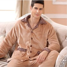 2016 Winter Spring Keep Warm Thick Coral Fleece Men Pajamas Sets of Sleep Tops & Bottoms Flannel Sleepwear Thermal Nightclothes(China (Mainland))