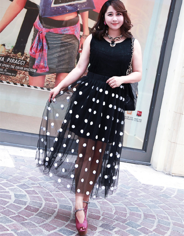 2015 New Fashion Womne's Large Size Dot Skirts Embroidered Gauze Elastic Waist Summer Skirt Plus Women Clothing 795 - Marco General Trading Company store