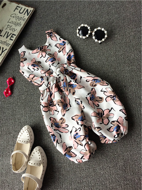 2015 New Girl children kids designed summer clothes set Floral printed chiffon tank top+long pants set 2-7 Ys Real photo(China (Mainland))