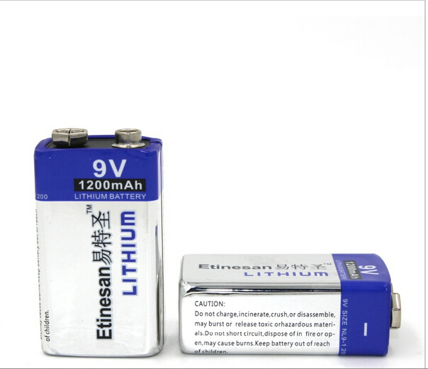 WHOLESALES 2pcs/lot 1200mAh ETINESAN 9v Li Batteries 9V li-ion Lithium Battery Fit for Automotive Electronics Ultra Long Life(China (Mainland))