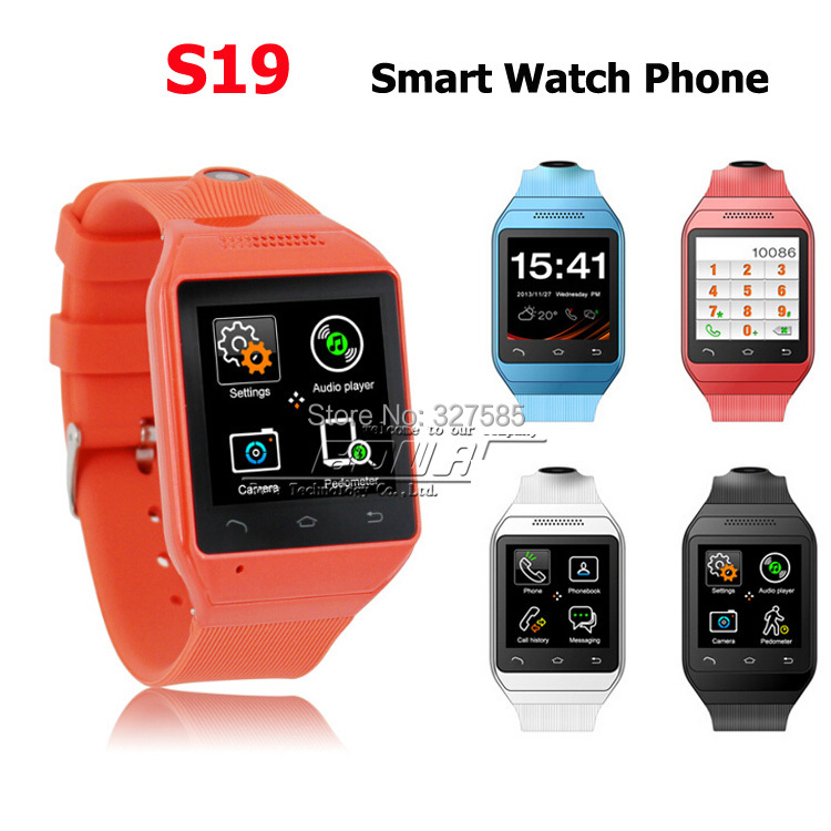 """DHL 5pcs Smart Watch S19 1.54"""" Touch Screen Bluetooth SmartWatch WristWatch Cell Phone TF GSM FM Sync Android OS Handsfree(China (Mainland))"""