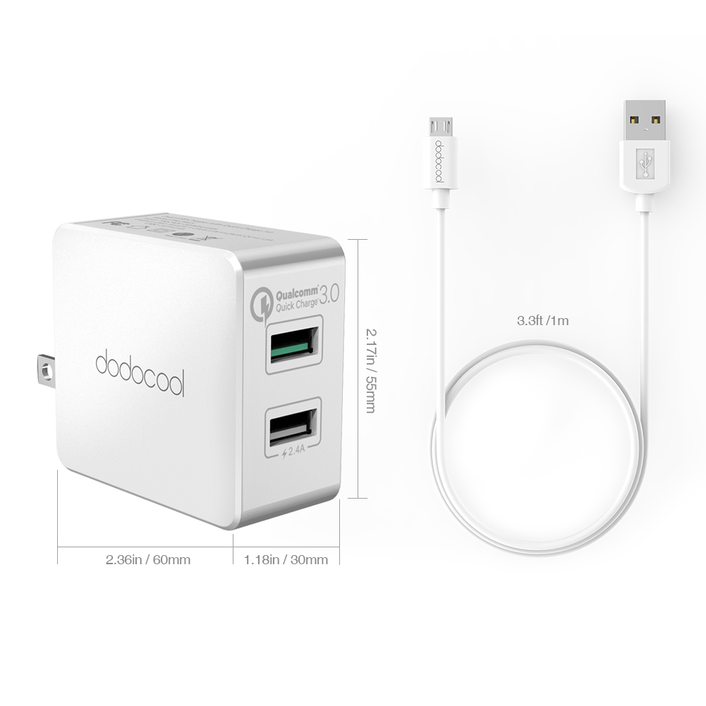 dodocool 30W Quick Charge 3.0 Dual USB Wall Charger Power Adapter with High Efficiency 2 USB PortsTPE Micro USB to USB Cable(China (Mainland))