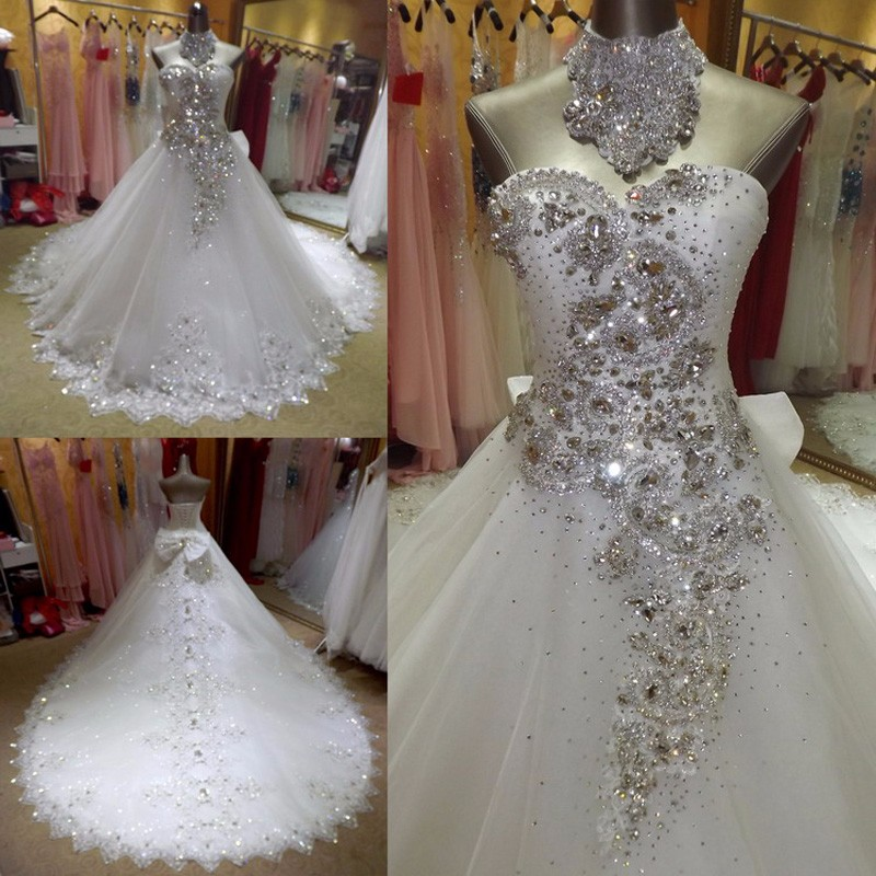 2017 New White Bling Tulle Crystal A-Line Wedding Dress Bridal Gown vestido de noiva Robe De Mariage casamento wedding gowns(China (Mainland))