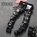 NEWSOSOO Hot Sale Draped Printed Jeans Men 2016 New Designer Biker Jeans Straight Denim Overalls Mens