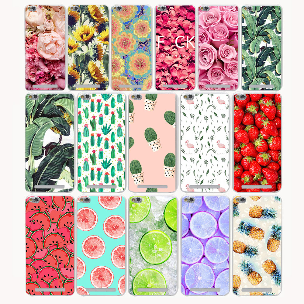 2592G Flowers Daisy Fruit Cactus Leaves Pattern Hard Transparent Case Redmi 3 3s Pro Note 2 3 Pro 2 2A&Meizu M3 M2 note Mini
