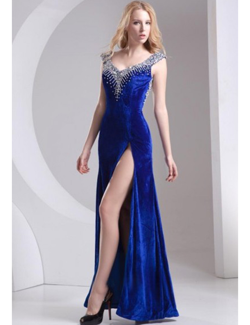 Winter New Arrival Velvet Prom Dress Gown Royal Blue with. Winter New  Arrival Velvet. New High Neck Crystal Beaded vestido ... a38992dc115f