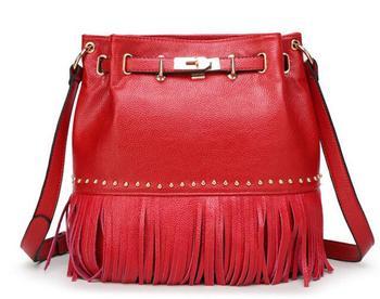 2016 Women Leather Bags BOW Women Messenger Bags Bolsa Femininas Women's Shoulder Bags Tassel Designer Handbags High QualityJ585