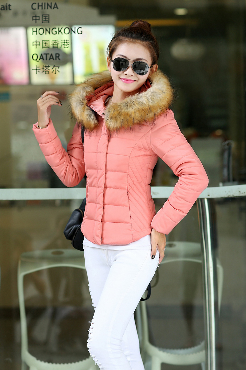 Fashion Brand Super Warm Cotton Down Overcoats Fur Collar Long Sleeve Zip Jacket for Women Plus Size(China (Mainland))