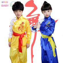 Buy unisex child 4 color martial arts costume children uniforms kung fu long sleeve embroidery dragon suits tai chi clothing red/bl for $23.65 in AliExpress store