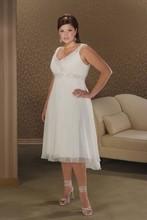 Elegant Plus Size Wedding Dresses For Women Cheap Chiffon Bridal Gown Knee Length 2016 V Neck(China (Mainland))