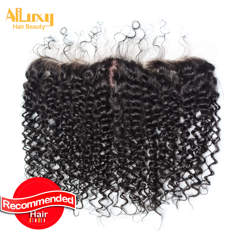 7A Grade silk curly frontal Lace closure virgin Hair  Free Shipping Water Wave silk frontal closure Natural color<br>