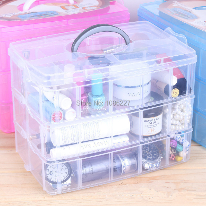 1pc/lot Plastic DIY storage box sundries holder jewelry and cosmetic organizer clear colors(China (Mainland))