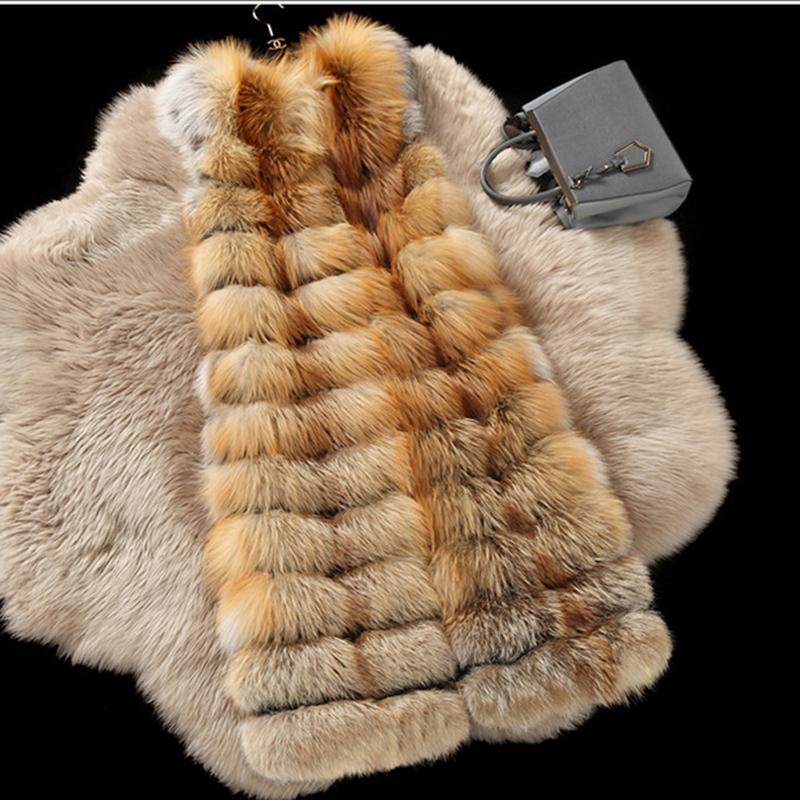 Plus Size Full Pelt Real Natural Fox Fur Vests Winter Luxury Genuine Silver Fur Fox Gilets Jackets S-8XL X-Long 110cm BF-V0285Одежда и ак�е��уары<br><br><br>Aliexpress