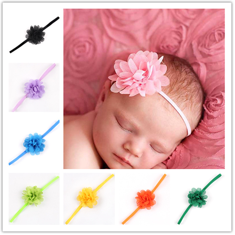 Big Sale ! 14Clr Fashion children infant kids newborn Baby girl Accessories chiffon mini flower Head bands  Hair Band Head Piece