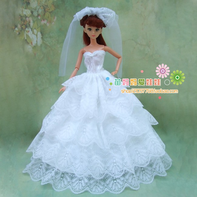 free transport full round 5 laywers lwhite brided lace gown with veil for barbie doll wedding ceremony gown