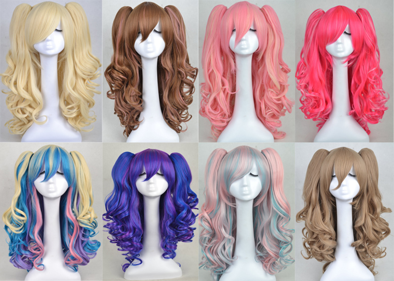 Long Curly 24 inches Lolita Cosplay Wigs Party Wig 8 Colors Hot pink/pink/pruple/brown/white cos wig Two Ponytails - Fibre Hair products Co.,Ltd store