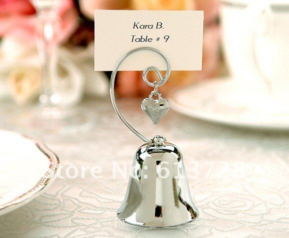 Wholesale unique Charming Chrome Bell place card holder, 20pcs/ lot. wedding favors, china post air mail