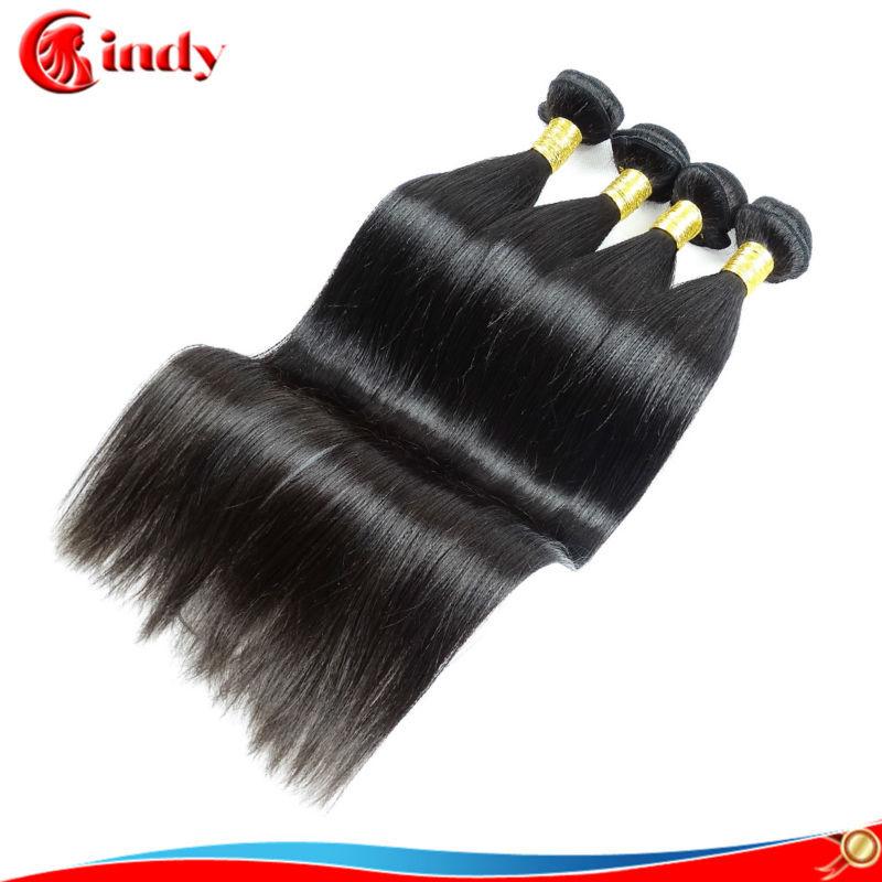 Free shipping natural black 6A grade Brazilian virgin hair straight 3pcs 100% unprocessed mixed length double weft human hair(China (Mainland))