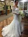 Hot Selling Lace Mermaid Wedding Dress Plus Size 2016 Off shoulder Long Sleeves Muslim Wedding Gown
