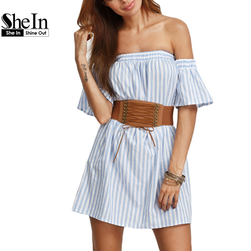 SheIn Summer Beach Dresses For Women New Arrival Blue Striped Off The Shoulder Short Sleeve Ruffle Shift Dress(China (Mainland))