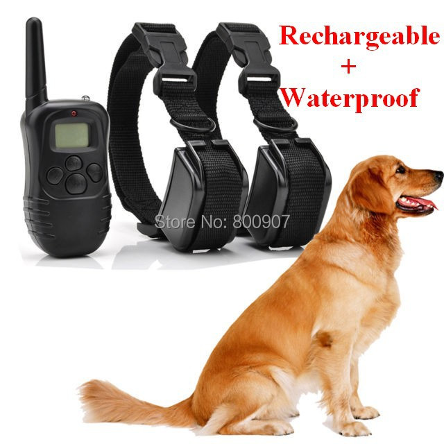 Dog Trainer Rechargeable Waterproof LCD 100LV 300M Remote Pet Dog Training Bark Stop Collar for two dogs(China (Mainland))