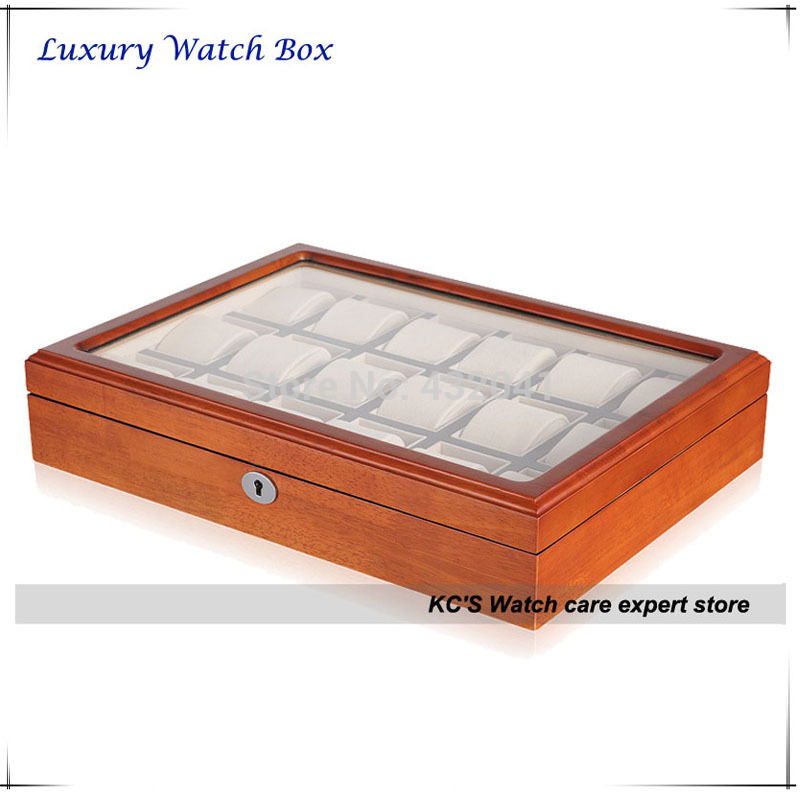 Lockable 18 Watch Display Case Solid Wood Luxury Watch Box Perfect Gift Idea - 18 Slots/ Clear Lid GC02-SM-18W<br>