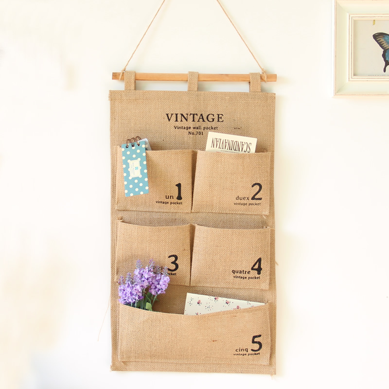 New Brand Home Organiser Multilayer Storage Bags Retro Style Cotton Fabric Jute Hanging Organizer Vintage Wall Pocket(China (Mainland))