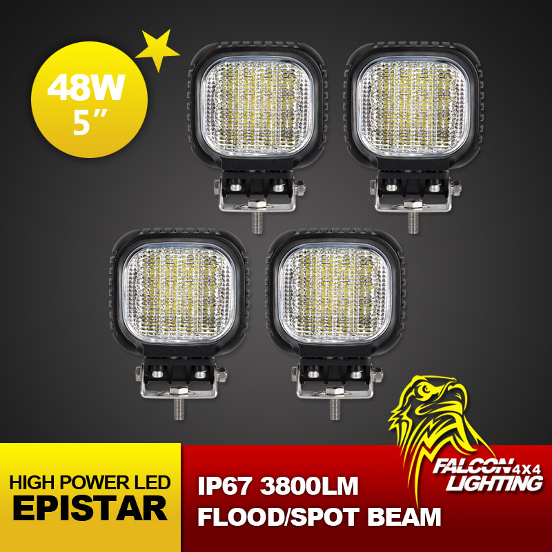 Free Shipping! 4PCS 48W Cree LED Work Light 12V 24V IP67 Flood Spot Beam For 4WD 4x4 Off road Light Truck Boat Train BUS Tailer(China (Mainland))