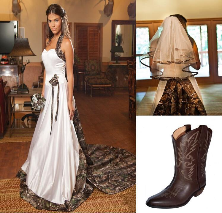 Camo wedding dresses 2015 wedding veil sweetheart for Wedding dress with boots
