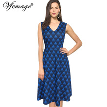 Vfemage Womens Elegant Geometric Printed V Neck Sleeveless Tunic Casual Wear To Work Office Party A-Line Skater Dress 3021(China (Mainland))
