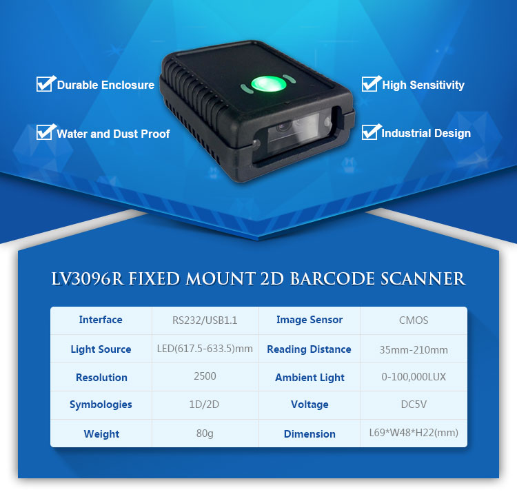 -3096R_01RS232 2D Barcode scanner module