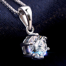 sterling silver jewelry Hearts and Arrows six claw necklaces pendants necklaces wholesale women (Not contain chain)